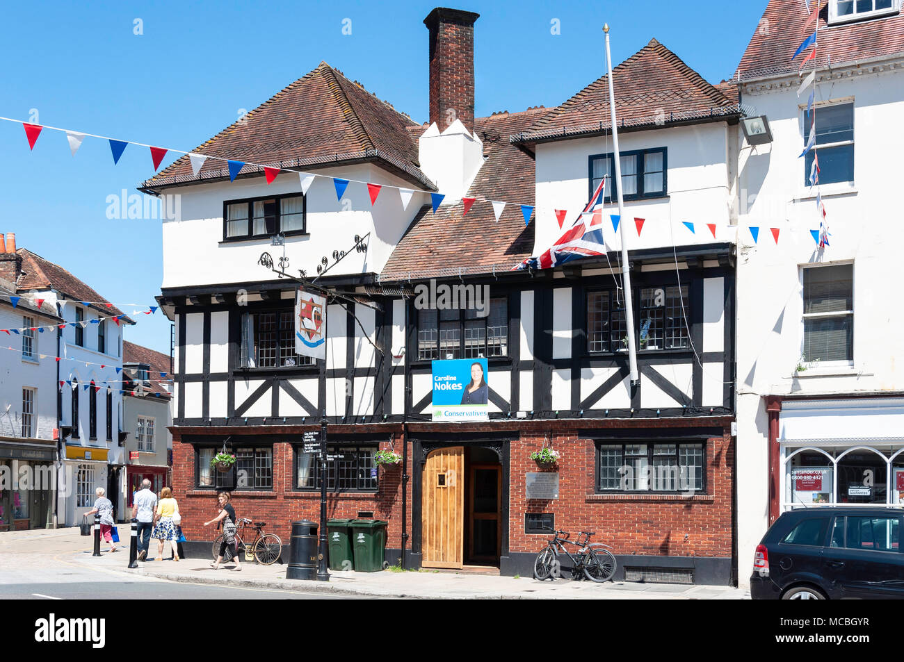 The former Old Swan Inn (now Conservative Club), Market Square, Romsey, Hampshire, England, United Kingdom - Stock Image