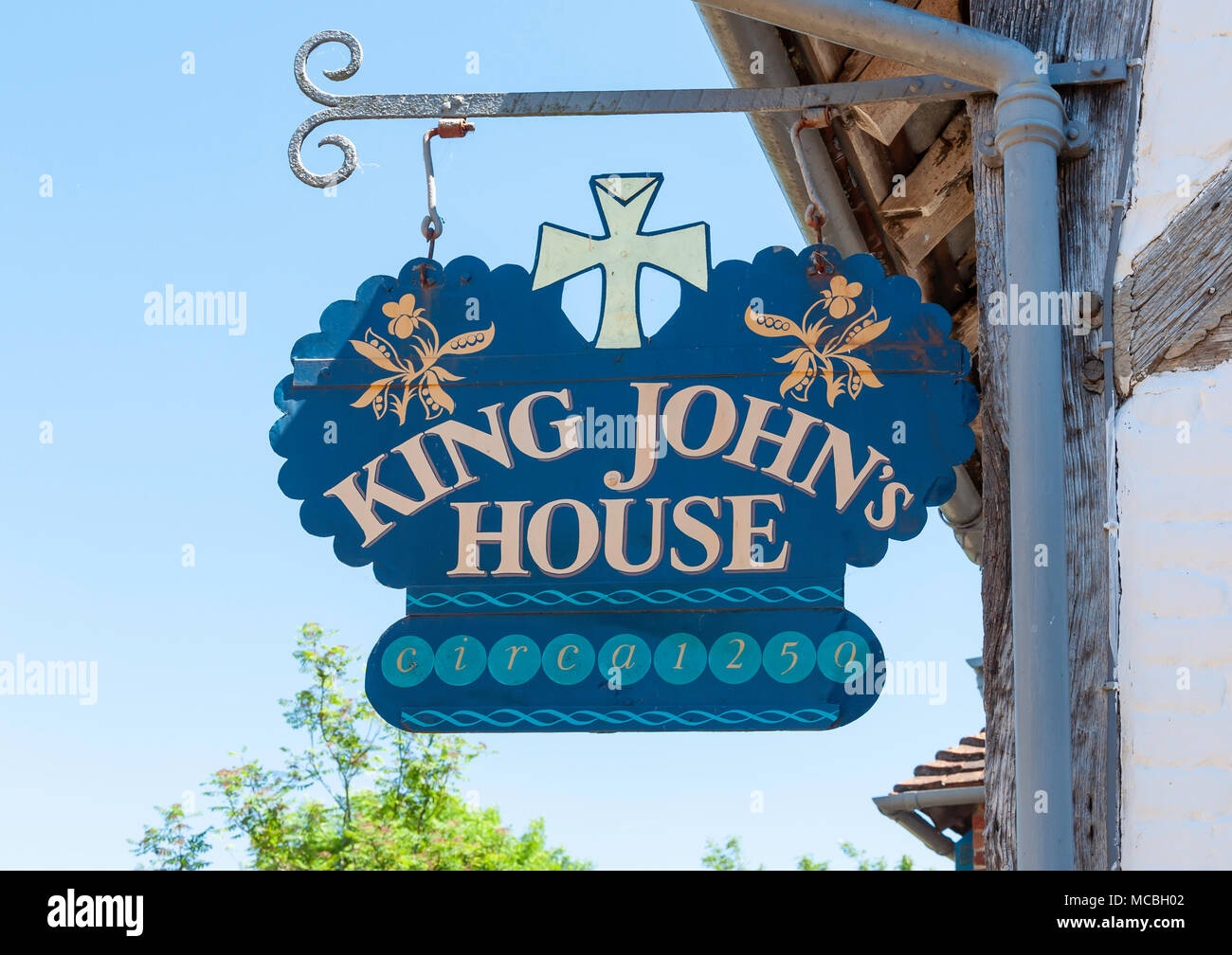 King John's House sign, Church Street, Romsey, Hampshire, England, United Kingdom - Stock Image