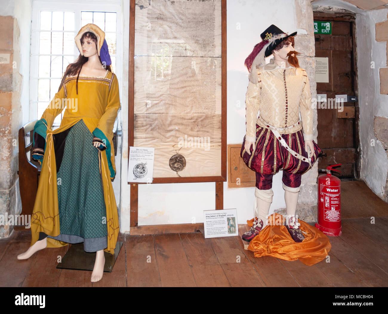 Medieval costume exhbit in King John's House & Tudor Cottage, Church Street, Romsey, Hampshire, England, United Kingdom - Stock Image