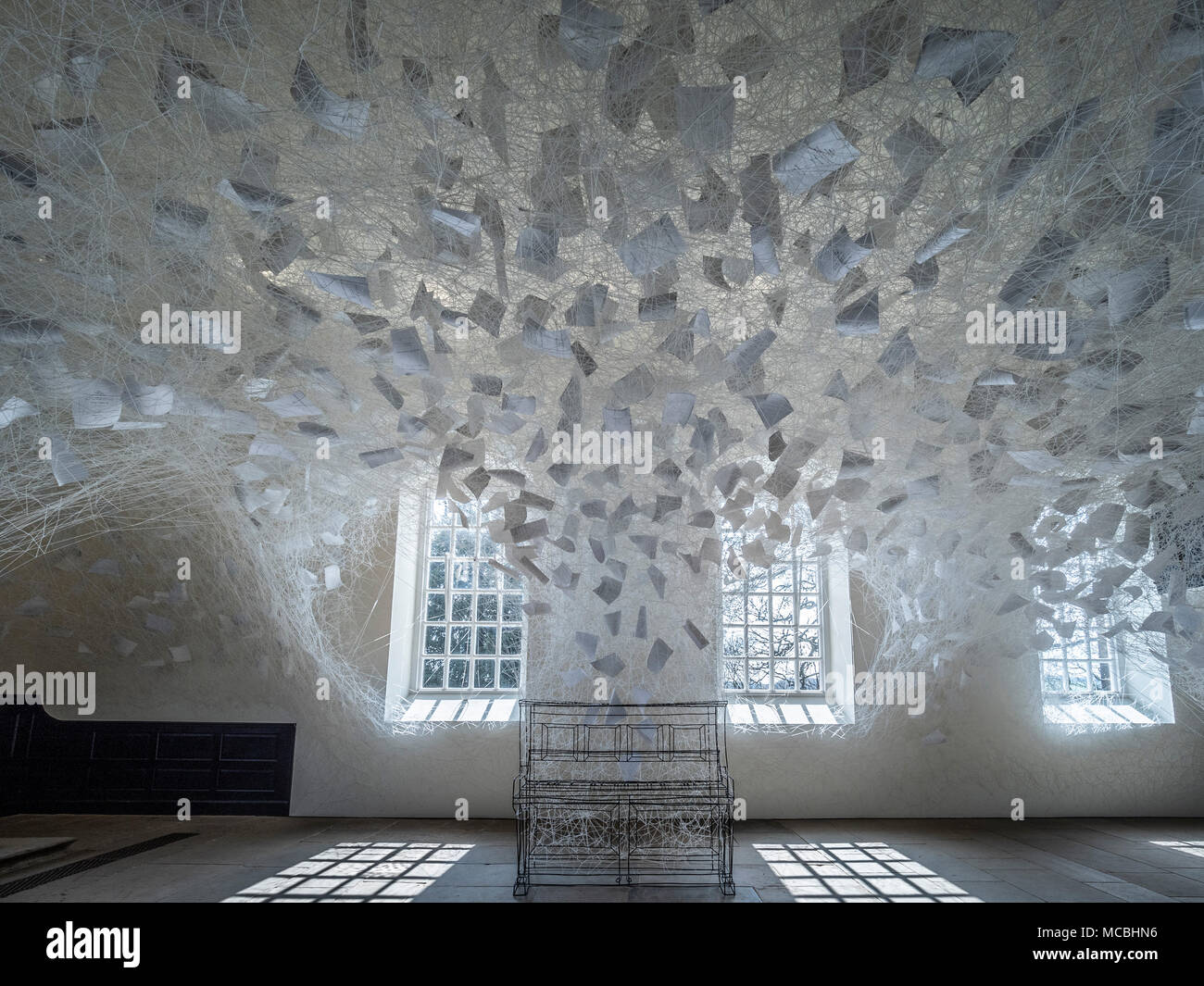 'Beyond Time' art installation by Chiharu Shiota, at the Chapel, Yorkshire Sculpture Park, UK. - Stock Image