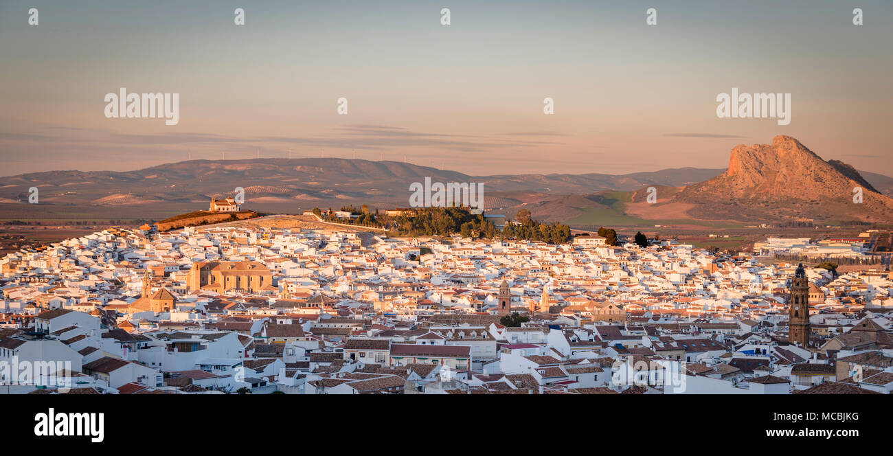 City view of Antequera, evening mood, panoramic view, Andalusia, Spain - Stock Image