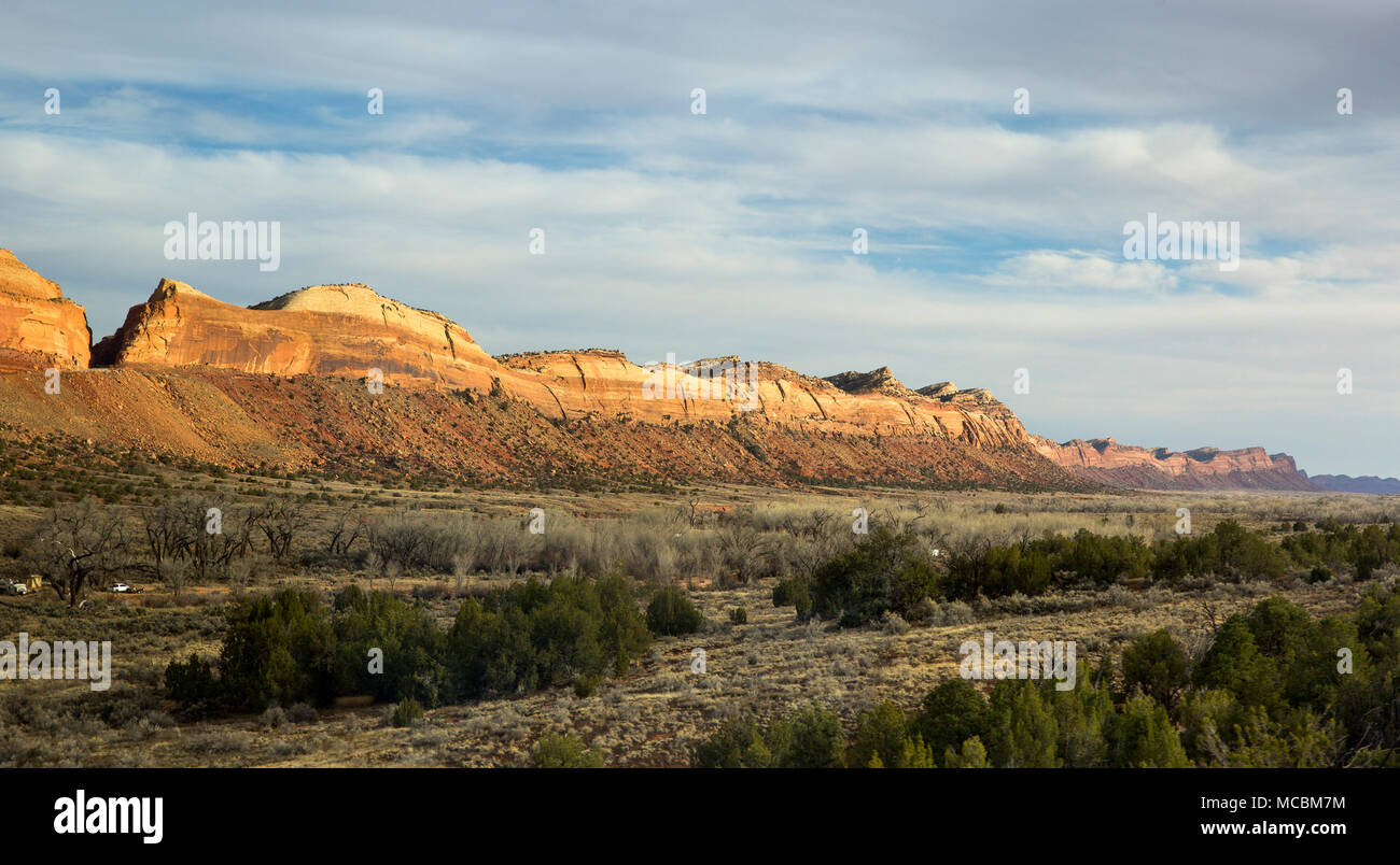 Comb Ridge is a linear north to south trending monocline nearly 80 miles long in southeast Utah, United States - Stock Image