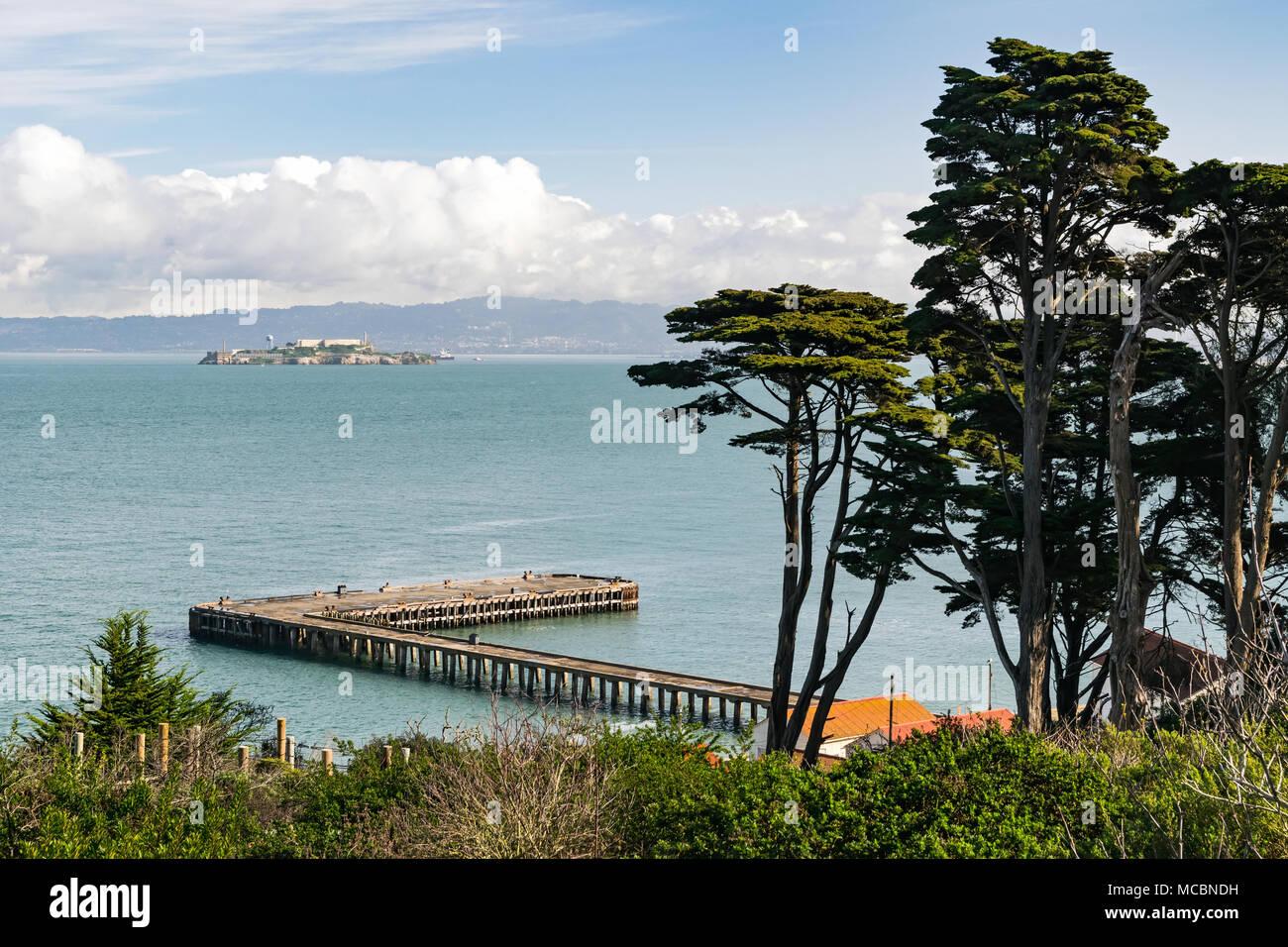 Scenic picture taken from San Francisco coastline, Alcatraz prison in the bay - Stock Image