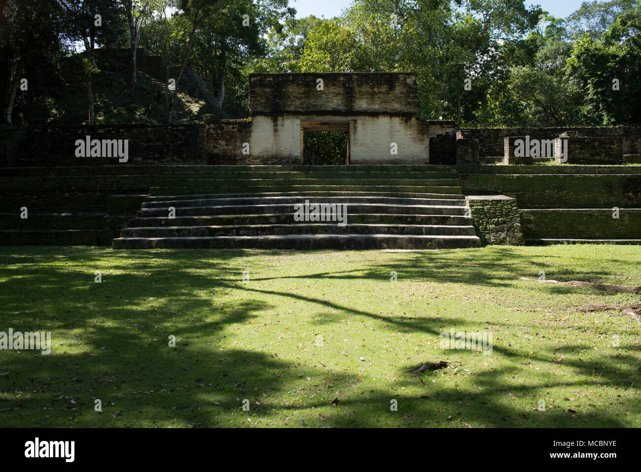 The main courtyard at the ancient Mayan site of Cahal Pech in western Belize. - Stock Image