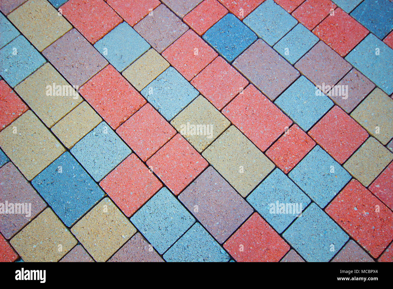 Perspective view of Colorful Brick Floor, stone street road ...