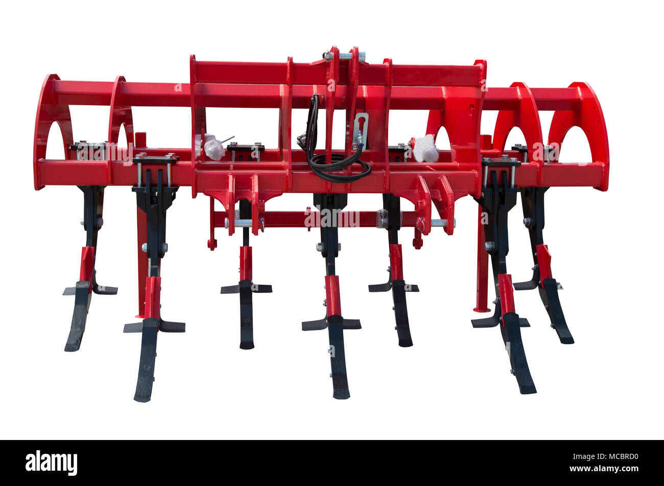 Agricultural plow isolated on white background. Plow for deep plowing. Subsoiler or flat lifter - Stock Image