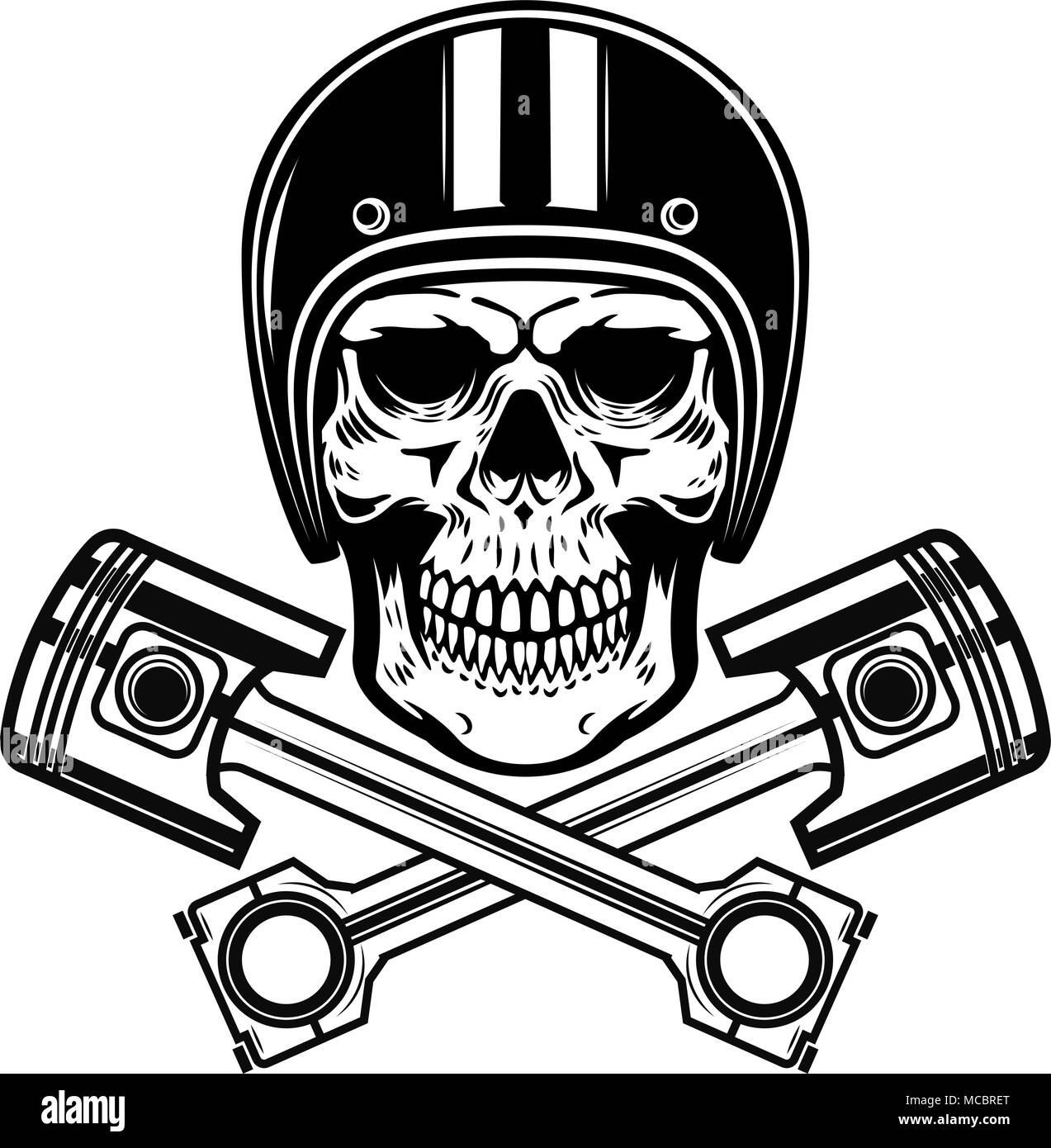58811bc1c3f78 Skull in racer helmet with crossed pistons. Design element for logo ...