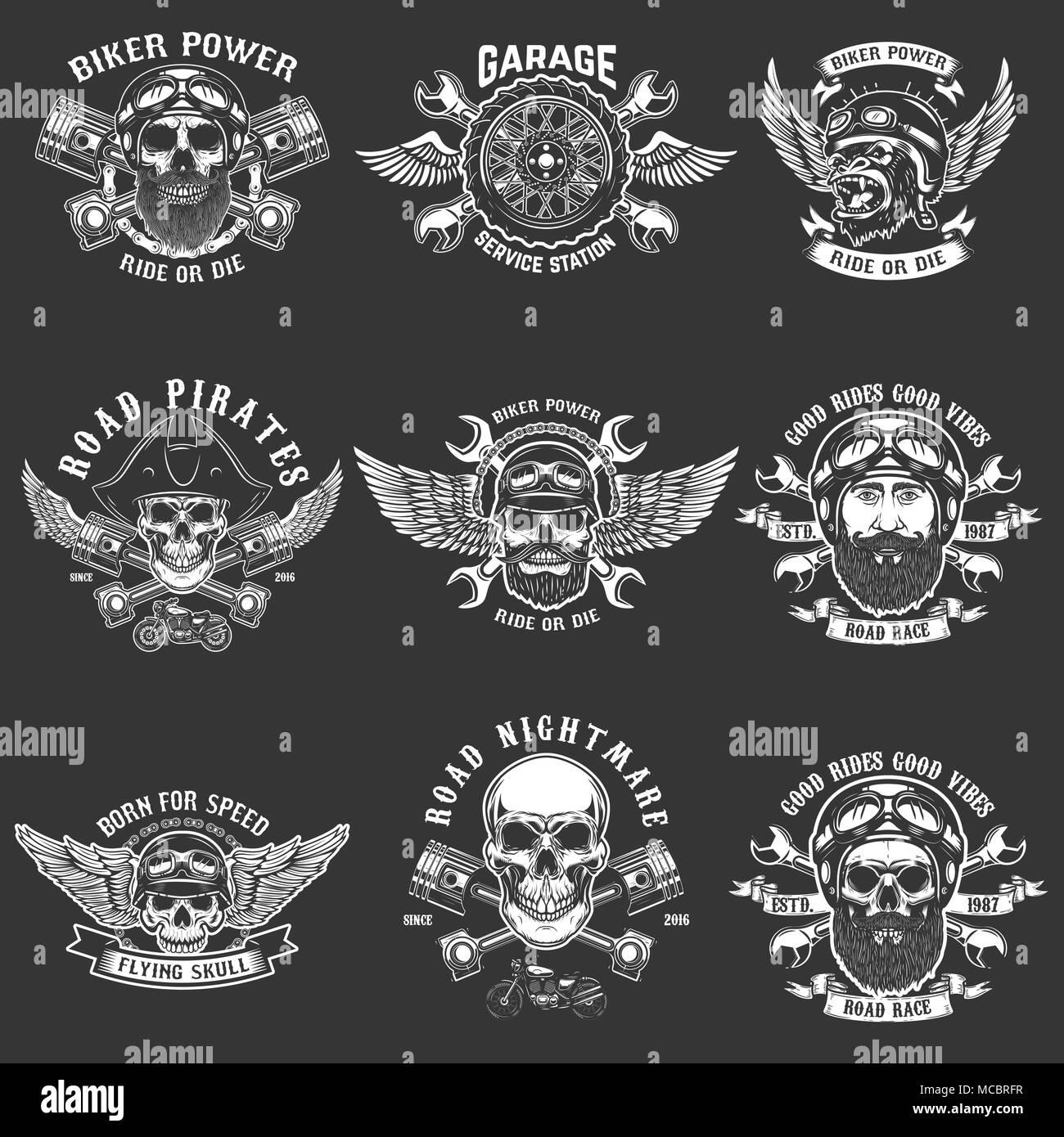 Set of biker club emblem templates. Vintage motorcycle labels ...