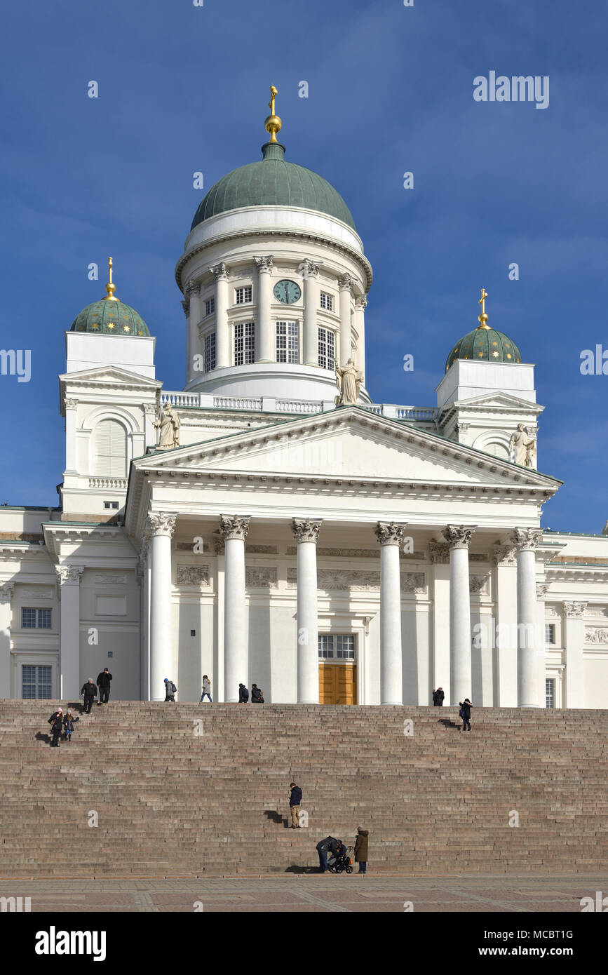 Finnish Evangelical Lutheran cathedral of Diocese of Helsinki, located in neighborhood of Kruununhaka in Spring - Stock Image
