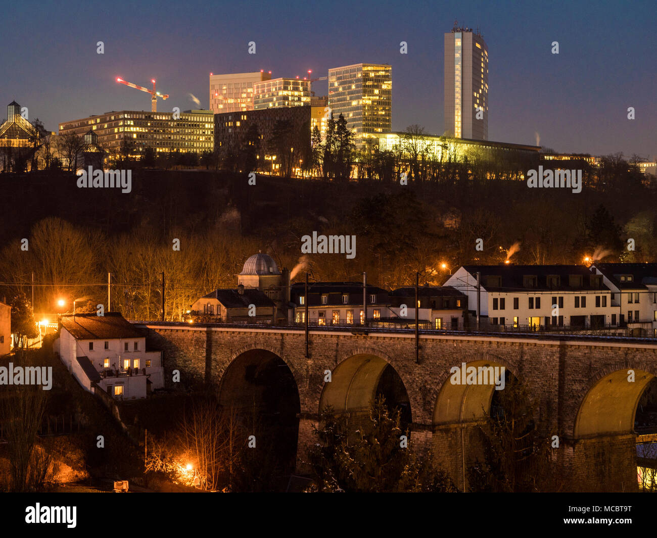 Viaduct in Clausen, Eurpean center, Luxembourg City, Europe - Stock Image