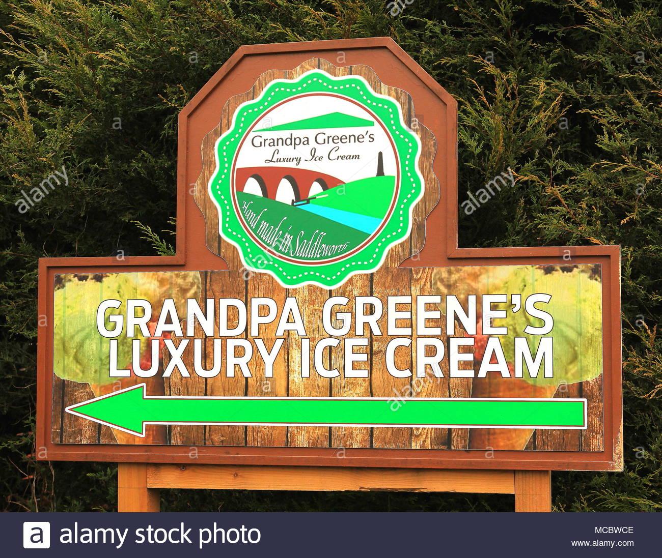 Entrance Sign To Grandpa Greene's Luxury Ice Cream At Diggle Saddleworth Oldham Lancashire England March 2016 - Stock Image