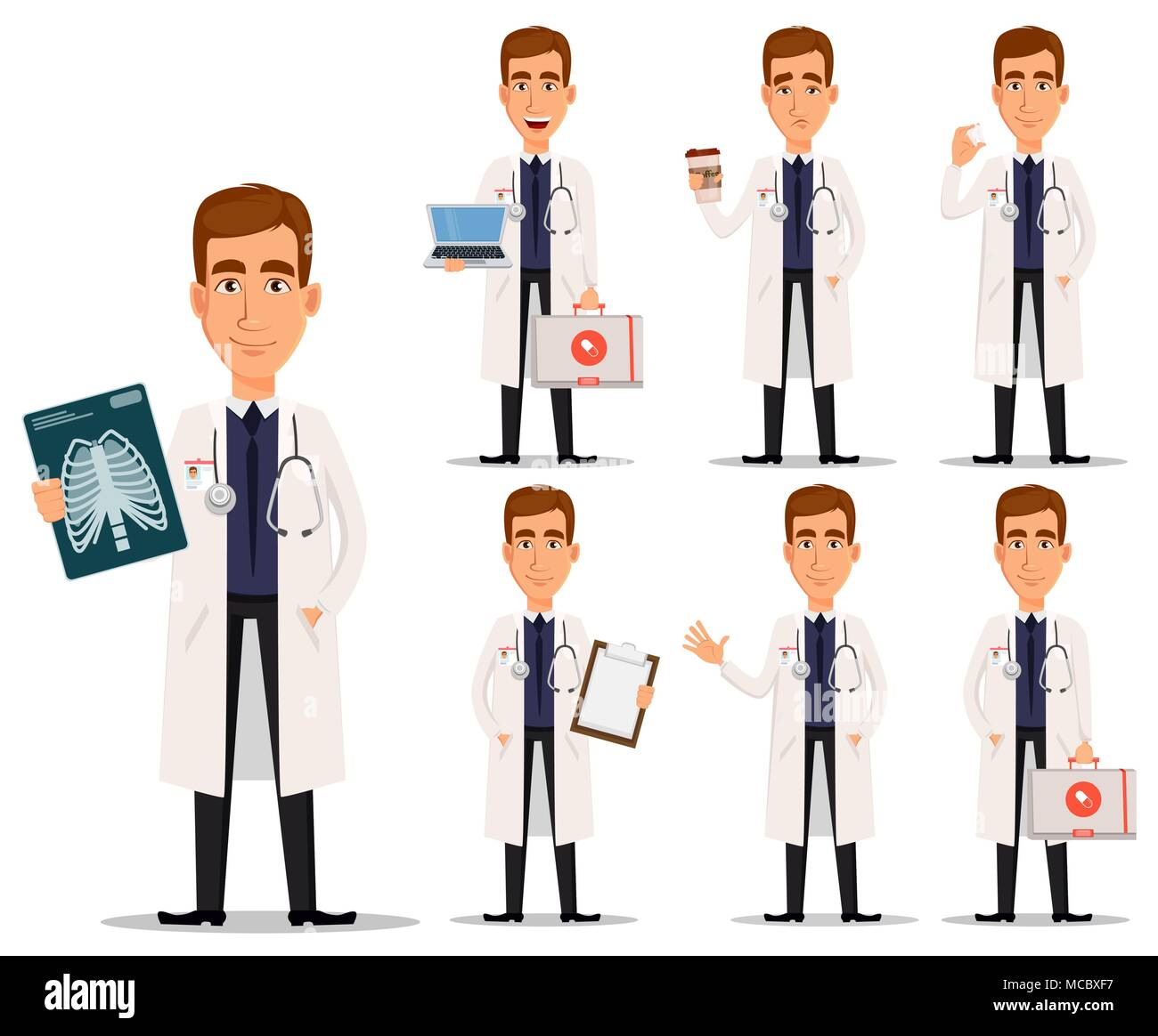Young Professional Doctor In White Coat Set Medical Worker