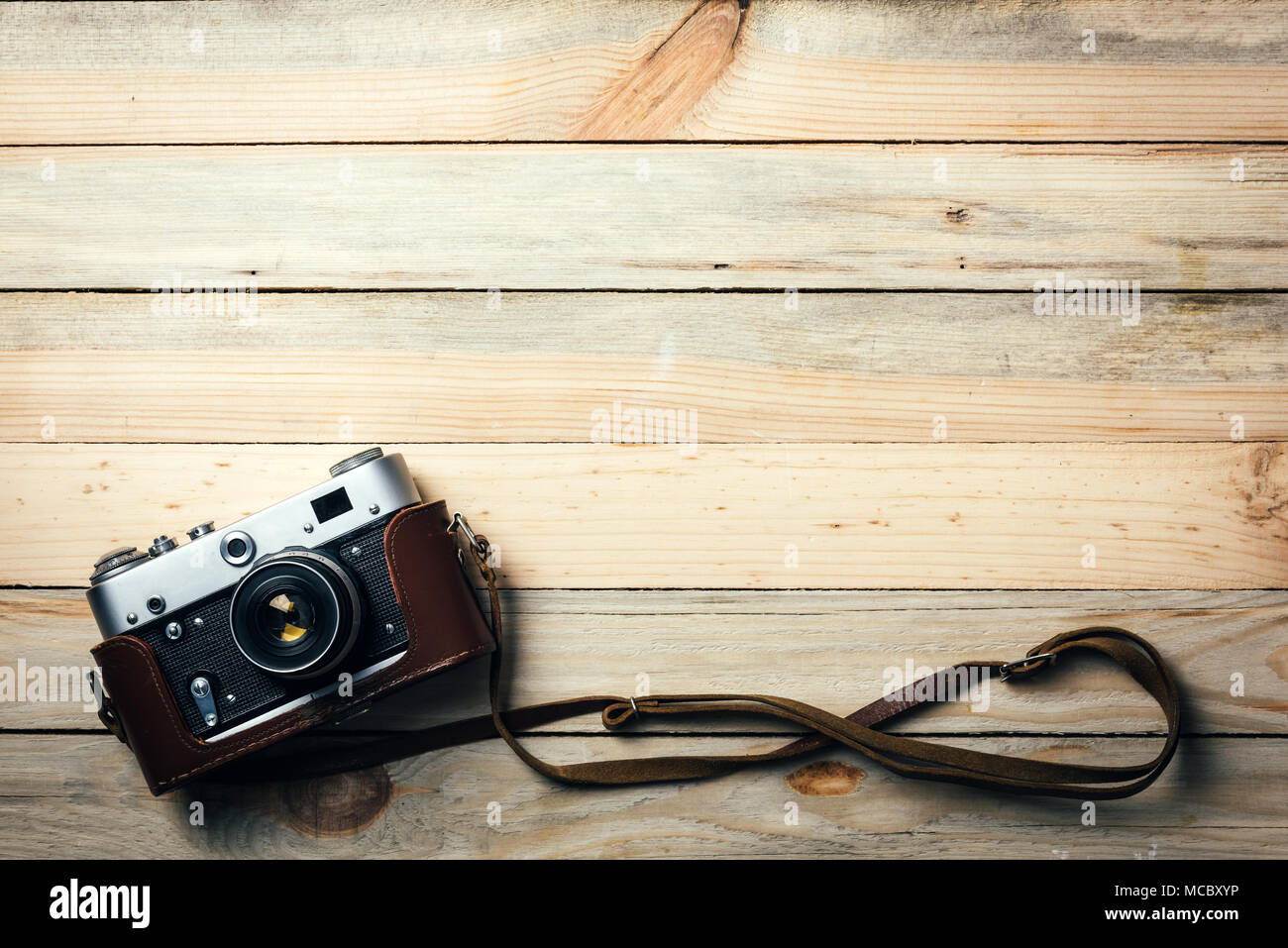 Old vintage film photo camera - Stock Image