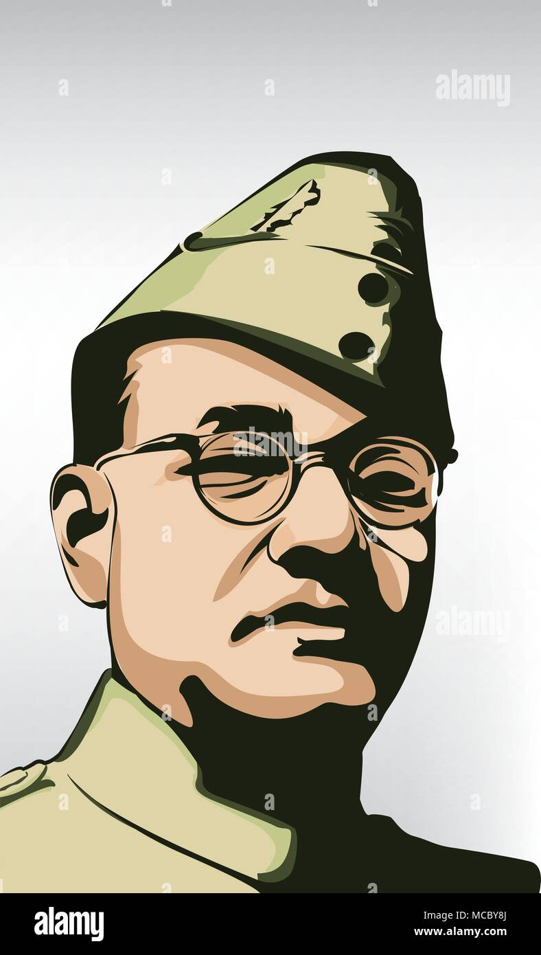 Subash Chandra Bose (1897 - 1945) Indian nationalist_ hero in India - Stock Vector