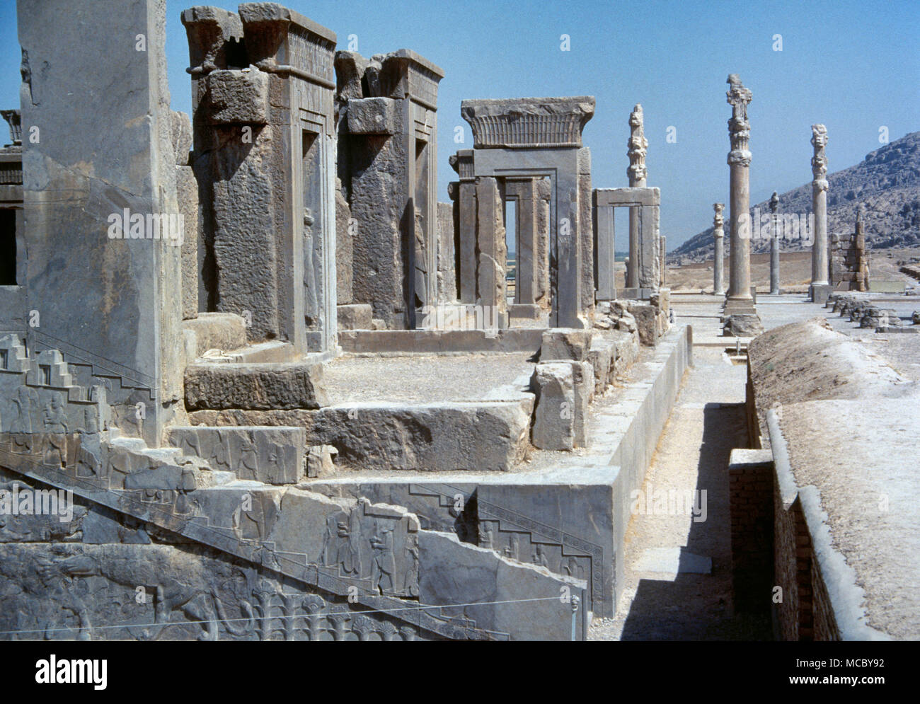 Persepolis. Tachara (Winter Palace) or Palace of Darius. Southwest of the Apadana. Era of Dario I (522-486 BC). Achaemenid style. Fars province, Iran. - Stock Image