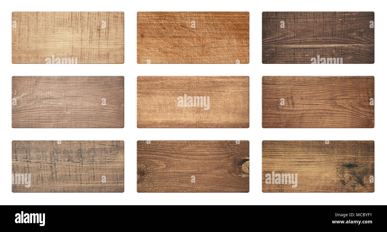 Brown wooden cutting boards, signboard, planks are isolated on white background - Stock Image