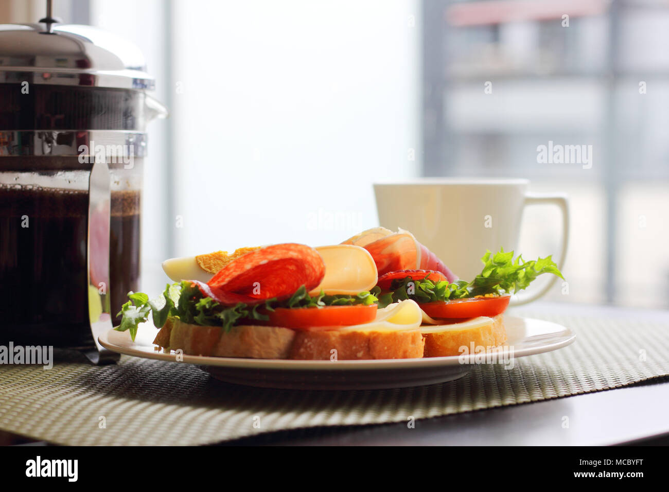 Healthy Breakfast With Sandwiches And Coffee In French Press Scandinavian Style Stock Photo Alamy