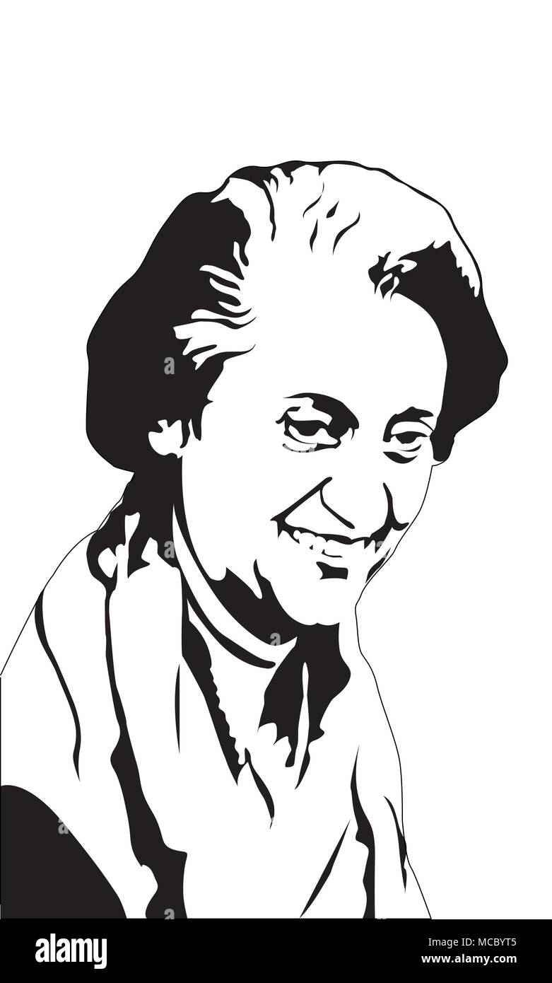 Indira Gandhi Indira Gandhi was an Indian politician and central figure of the Indian National Congress party - Stock Image