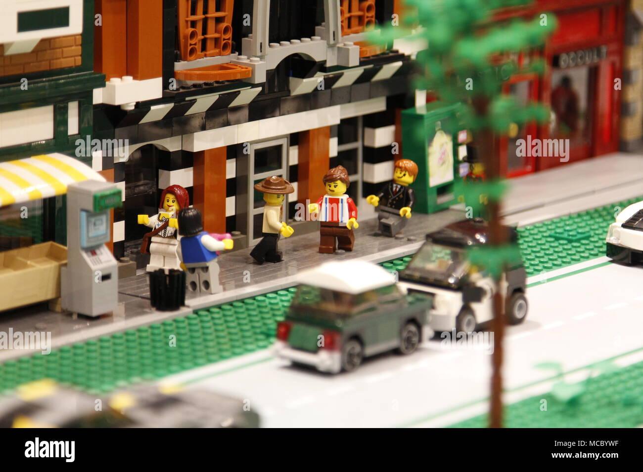 Lego Street Scene Diorama - Stock Image