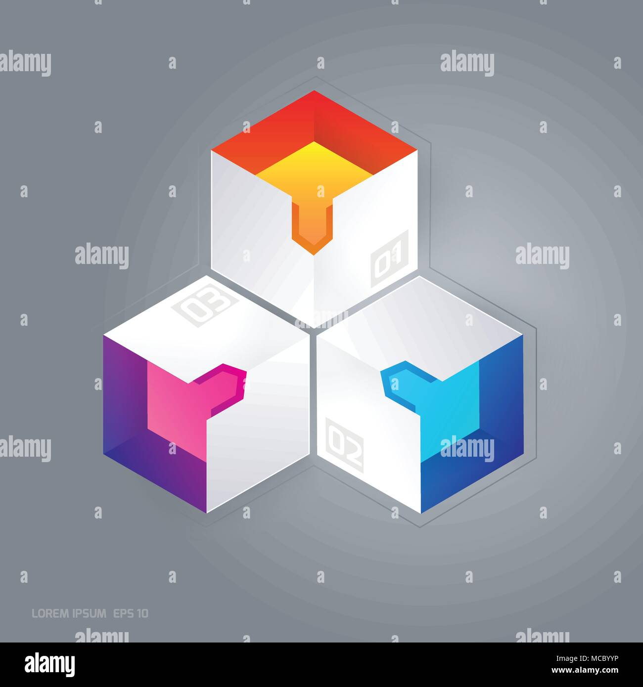 Abstract 3D cubic infographic vector illustration suitable for web graphic design. Stock Vector