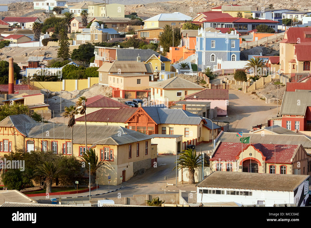 Aerial view of Luderitz showing colorful houses in Namibia, Africa - Stock Image