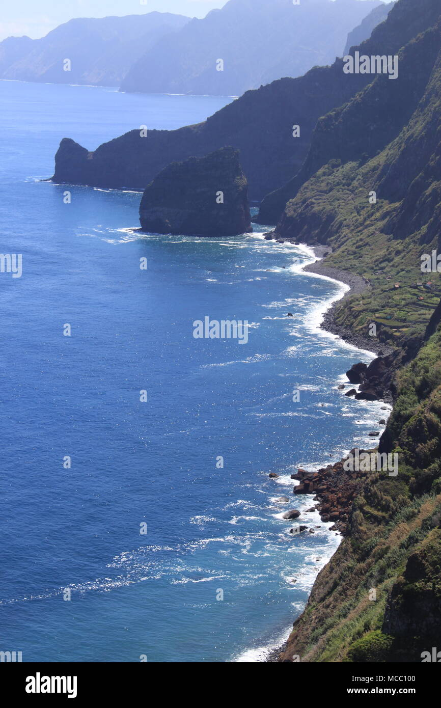 View from Santana to the Rocha do Navio Nature Reserve, North West Madeira Island (Portugal), MADEIRA, PETER GRANT Stock Photo