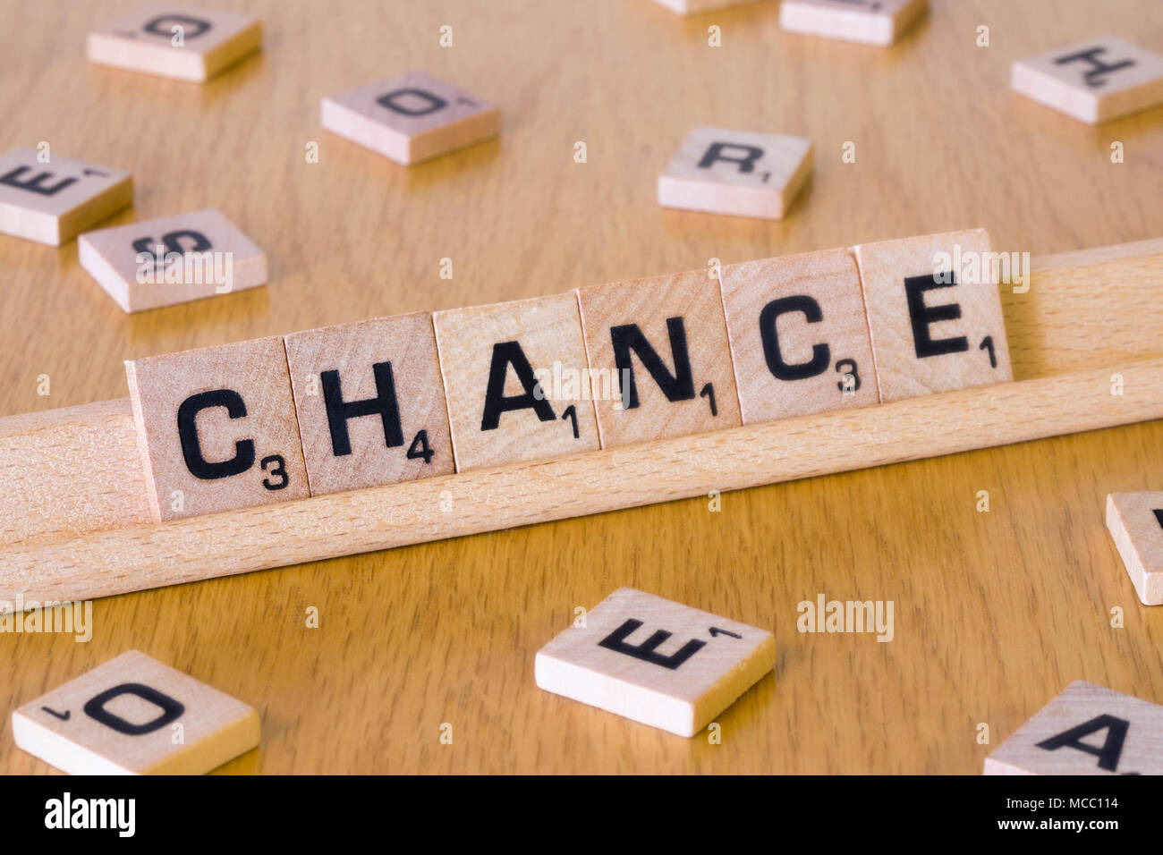 Scrabble letters spelling out the word Chance - Stock Image