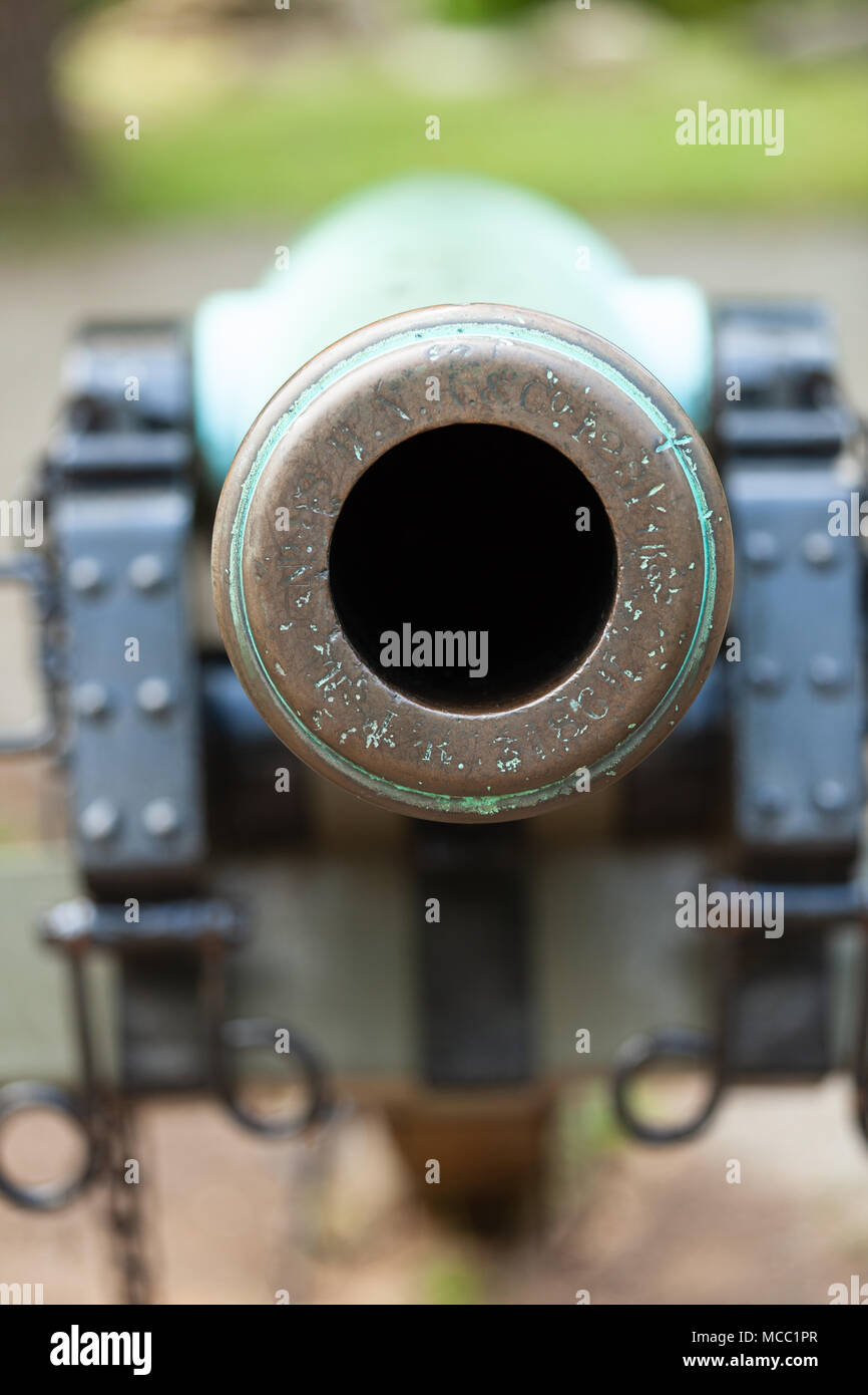 Gettysburg, PA, USA - July 8, 2013:  A close-up of a civil war cannon on the Gettysburg battlefield. Stock Photo
