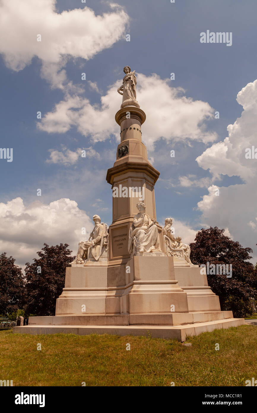 Gettysburg, PA, USA - July 8, 2013:  The State of New York Monument is located in the Soldiers' National Cemetery in Gettysburg. Stock Photo