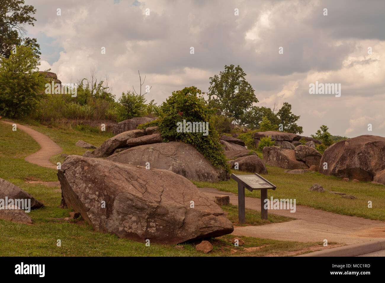 Gettysburg, PA, USA - July 8, 2013:  Devils Den is a boulder-strewn hill on the Gettysburg Battlefield occupied by artillery and infantry on day two o Stock Photo