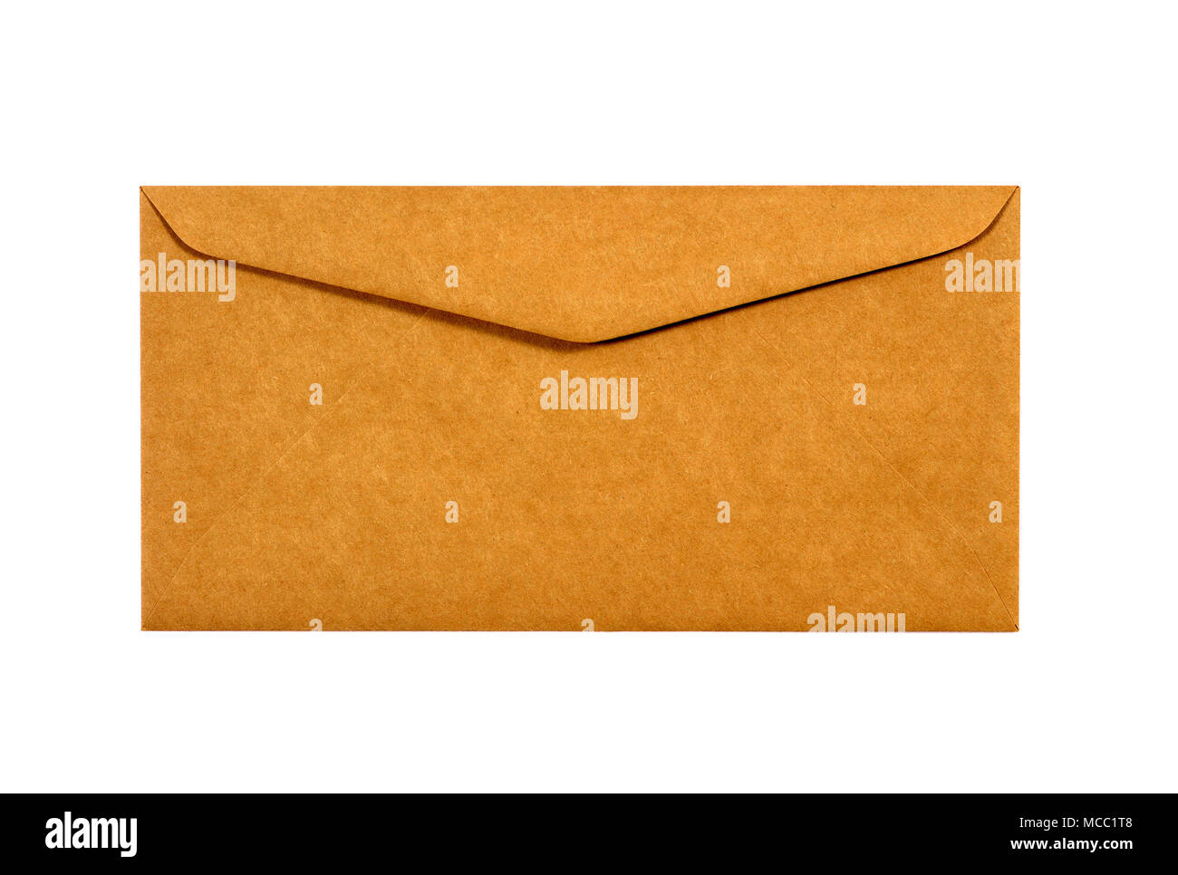 Plain brown letter size envelope against a white background Stock