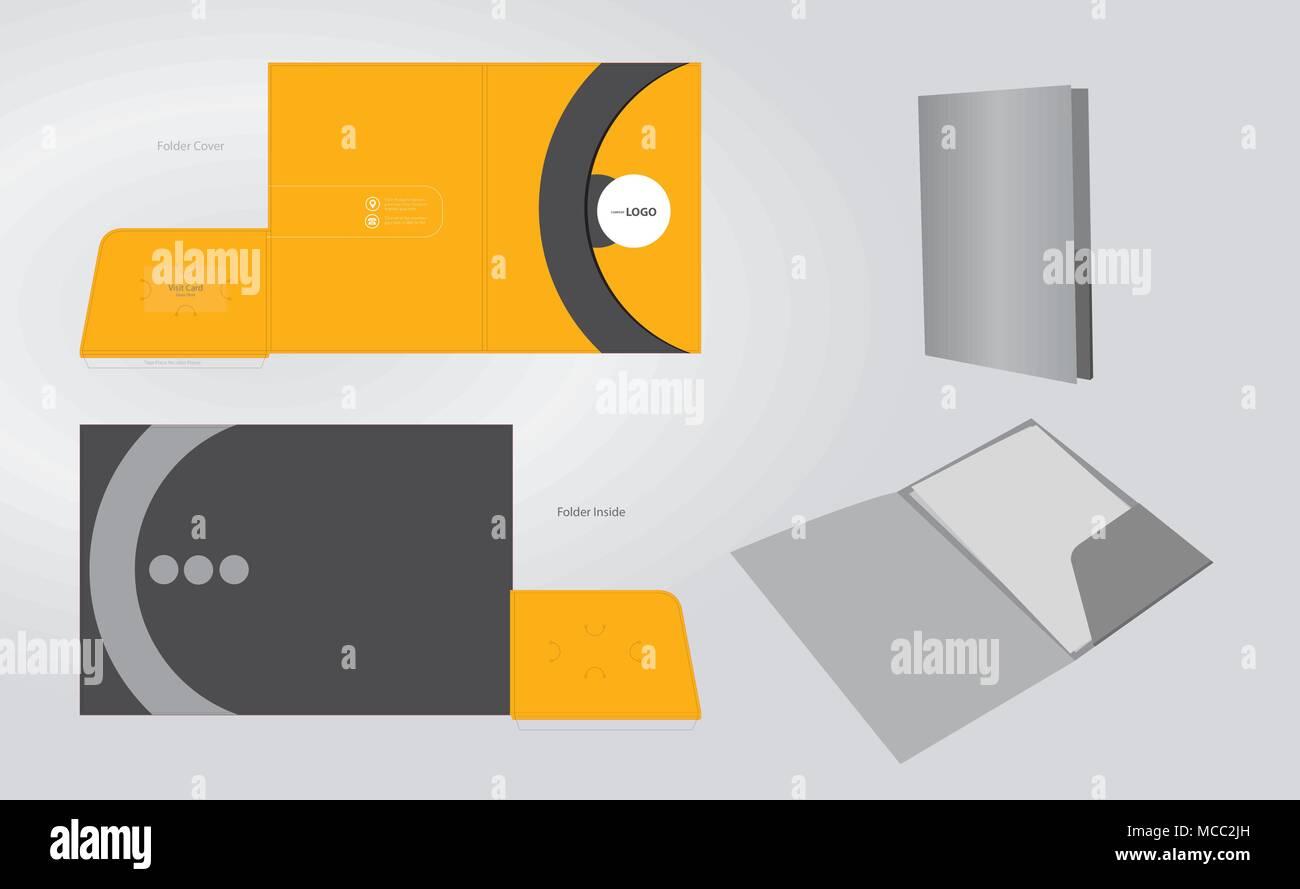 Corporate identity business set folder design template vector.