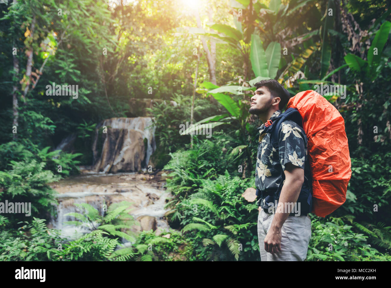 Person standing in waterfall, Inspired happy traveler enjoying nature, adventure concept - Stock Image