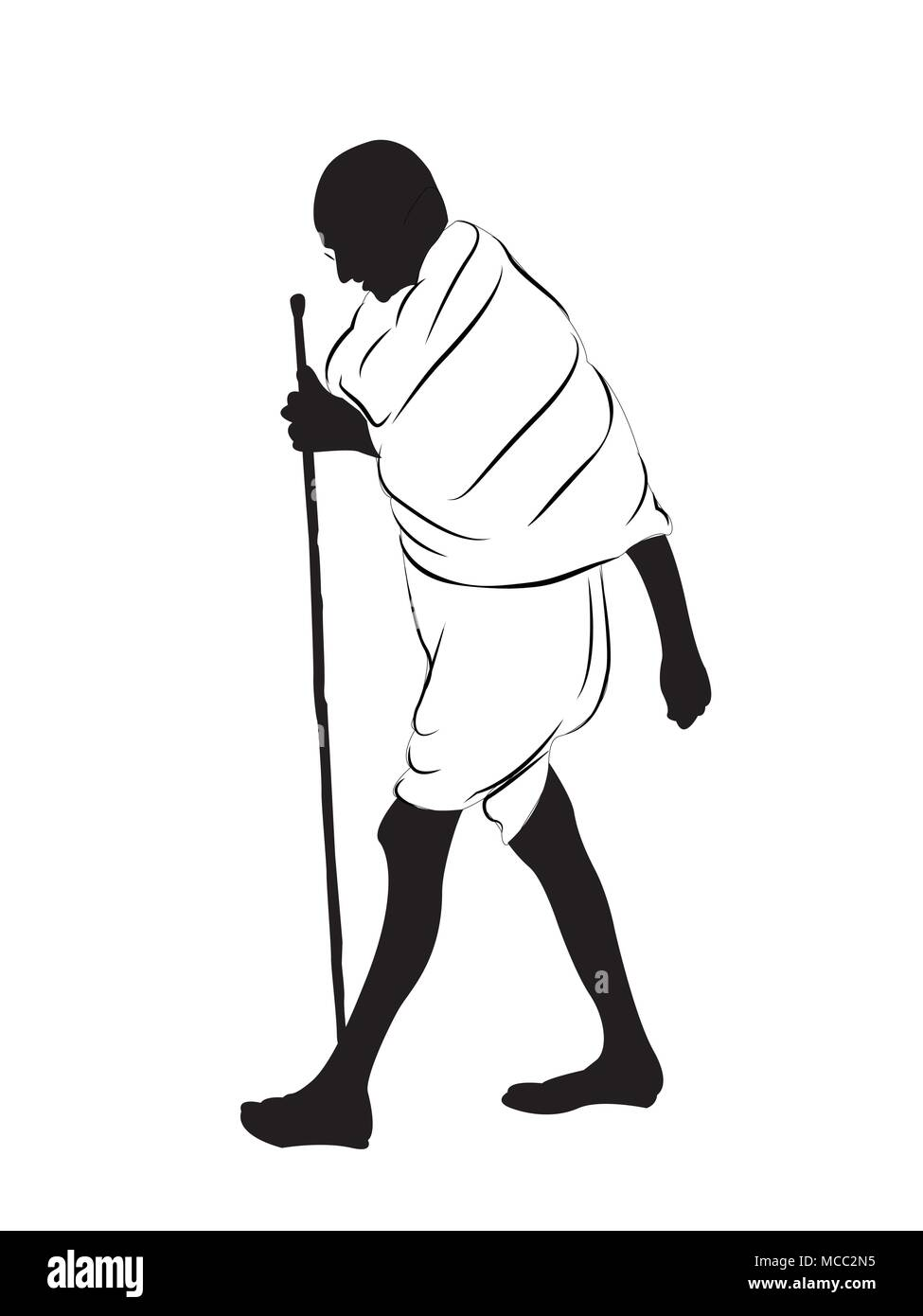 Mahatma Gandhi walking.leader of freedom fighters and father of the nation. - Stock Image