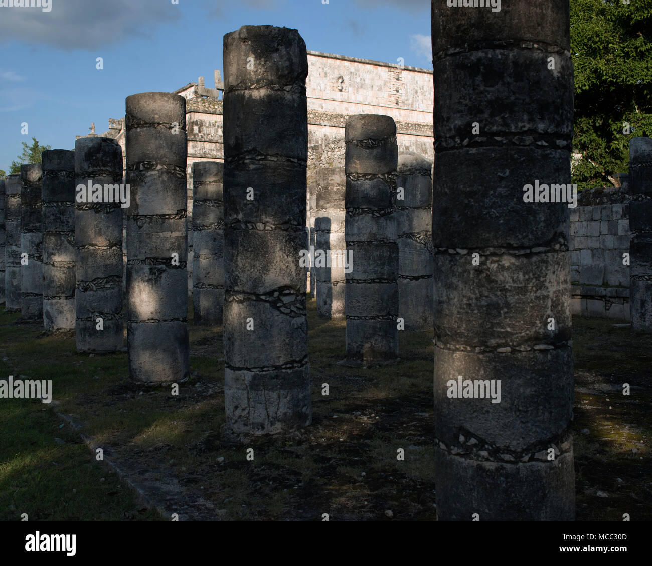 The Temple of a Thousand Warriors at the ancient Maya archaeological site of Chichén Itzá, Yucatán State, Mexico.Stock Photo