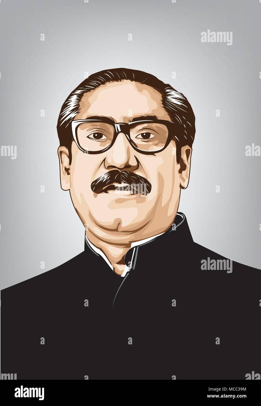 Sheikh Mujibur Rahman(1920-1975)1st and 4th President of Bangladesh-Bengali politician and statesman-He is known Bangabandhu-vector image. - Stock Image