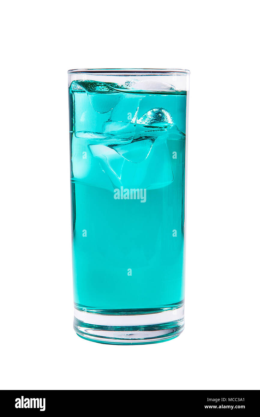 One-color, blue, transparent cocktail with ice cubes. Isolated white background. Side view. Drink in a glass glass for the menu restaurant, bar, cafe - Stock Image