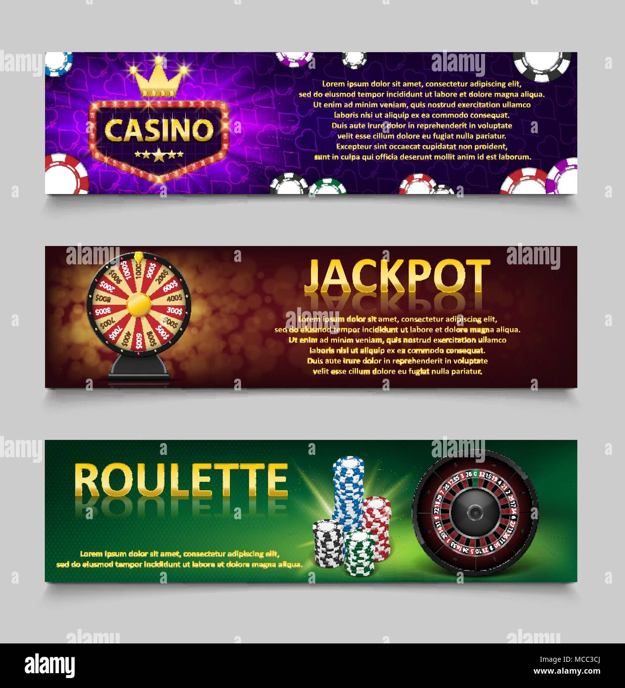 Gambling banners with Roulette Wheel and Casino Chips, lottery machine, gold fortune wheel set. Casino jackpot banner with casino games, fortune and lottery. Vector illustration Stock Vector