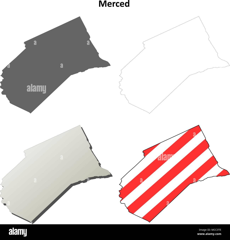 Merced County California Outline Map Set