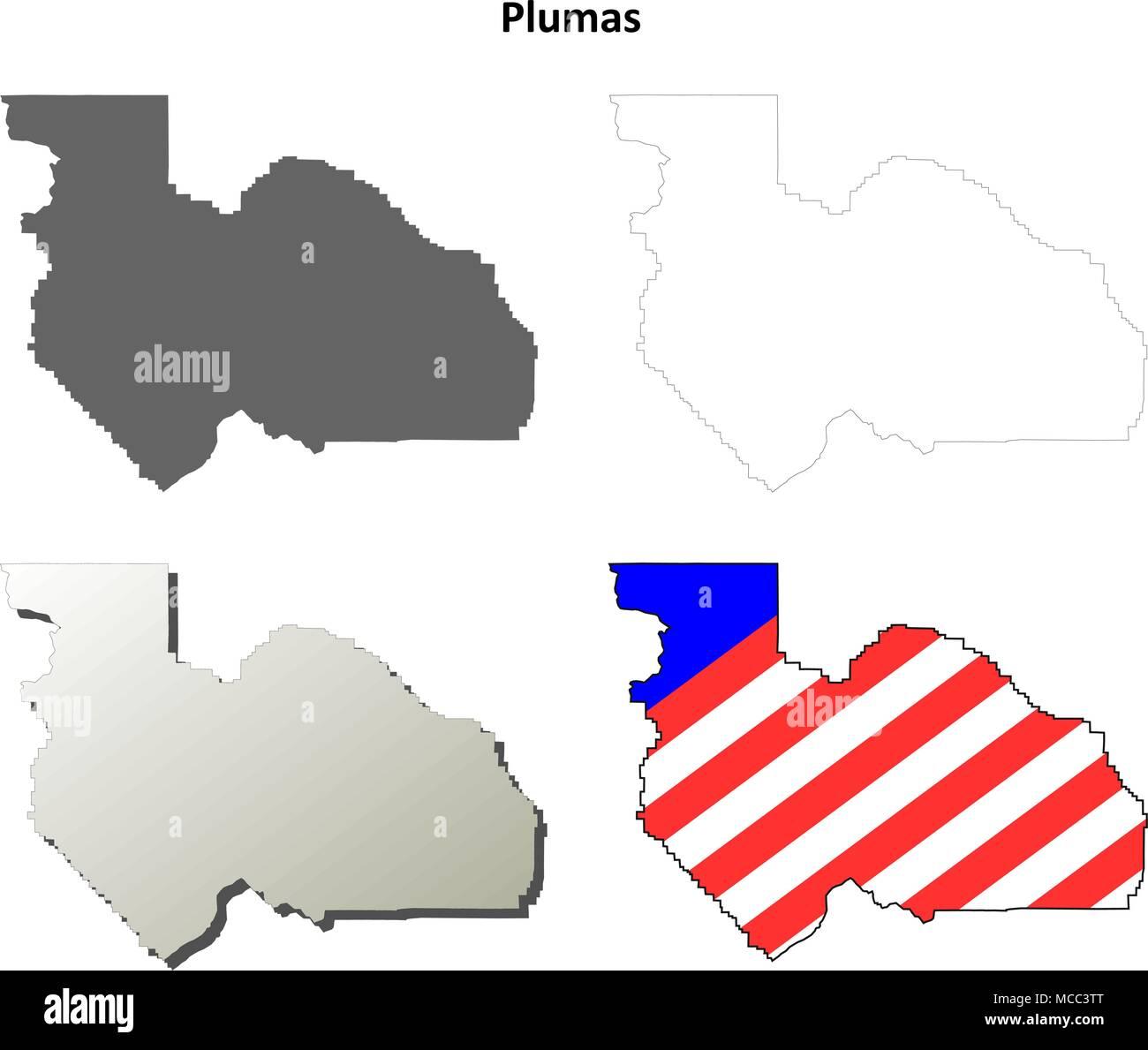 Plumas County California Outline Map Set