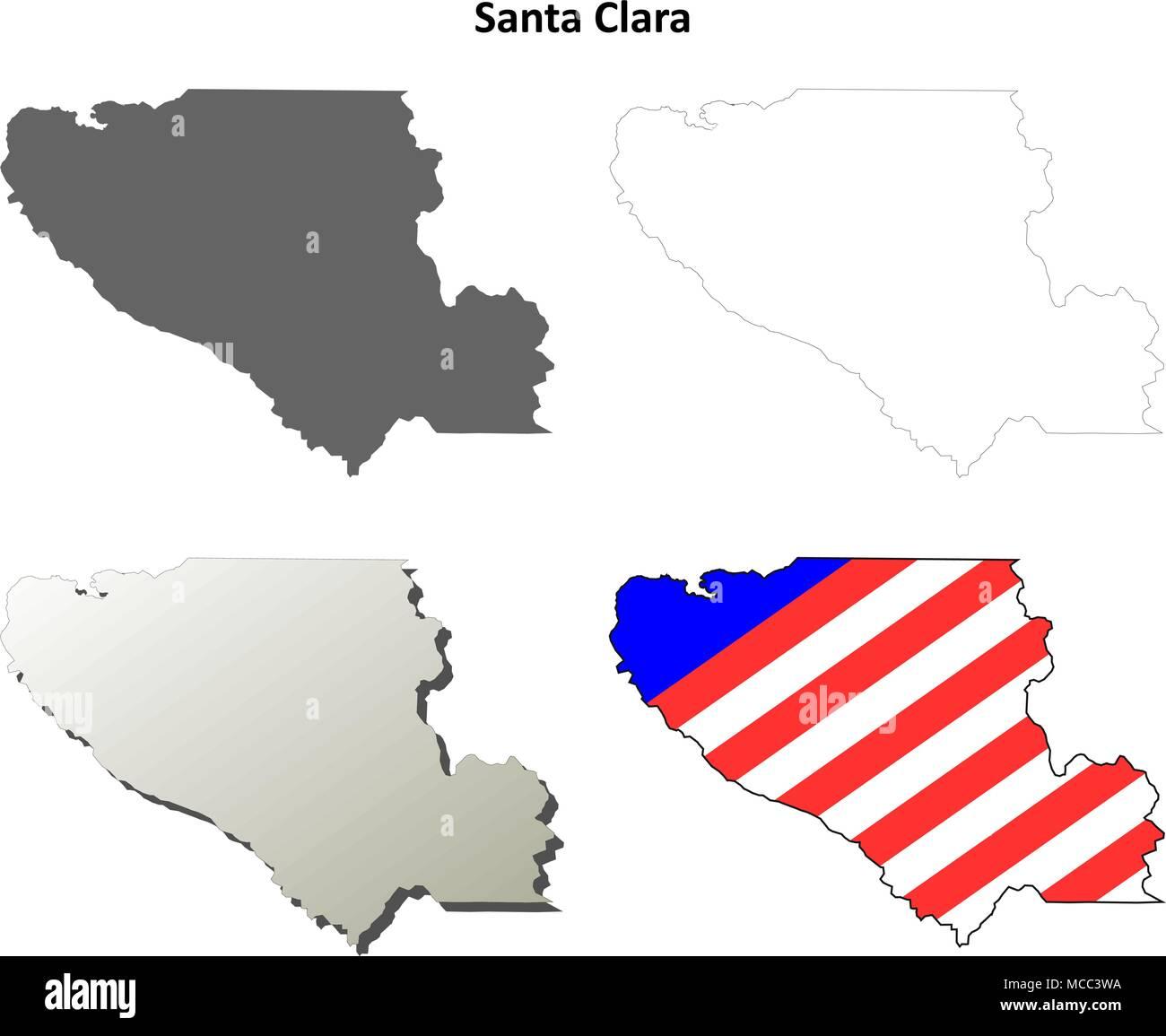 Santa Clara County California Outline Map Set