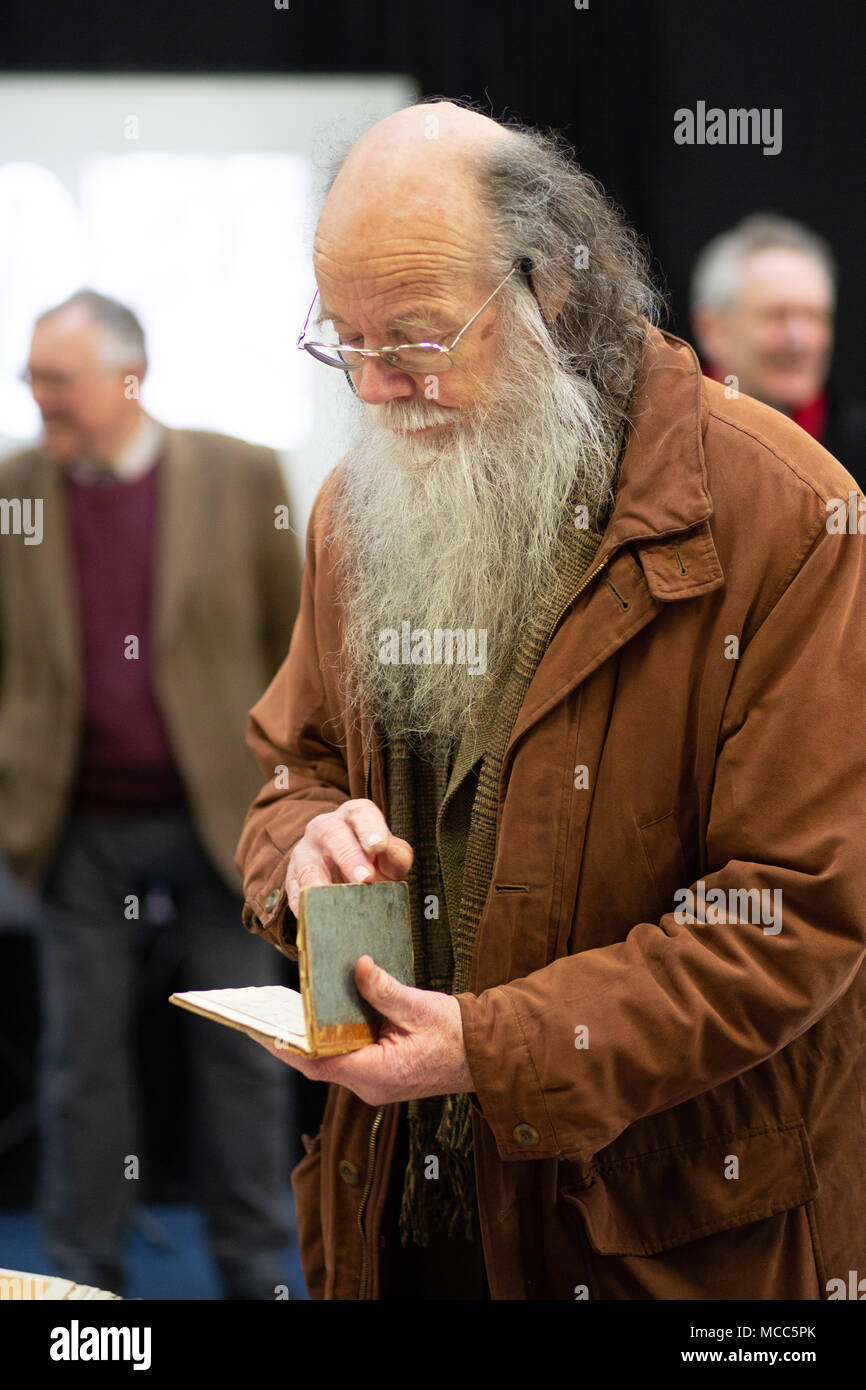 John Goodacre holds a sketchbook by architect Joseph Goddard at the launch of the exhibition to house his work at the now ISKCON Hare Krishna Temple. Stock Photo