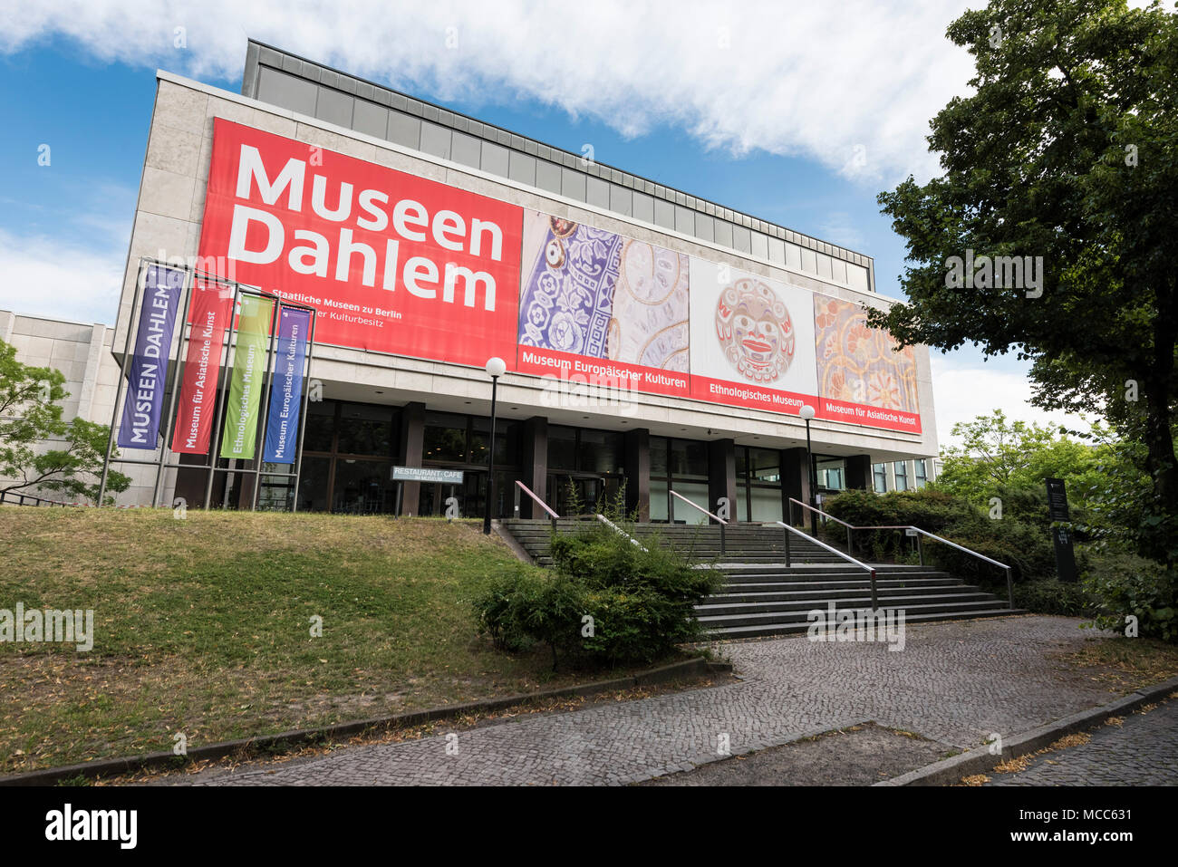 Berlin. Germany. Exterior of the Berlin-Dahlem Museum Centre (Museumszentrum Berlin-Dahlem).  The museum complex in Dahlem was originally planned by a - Stock Image