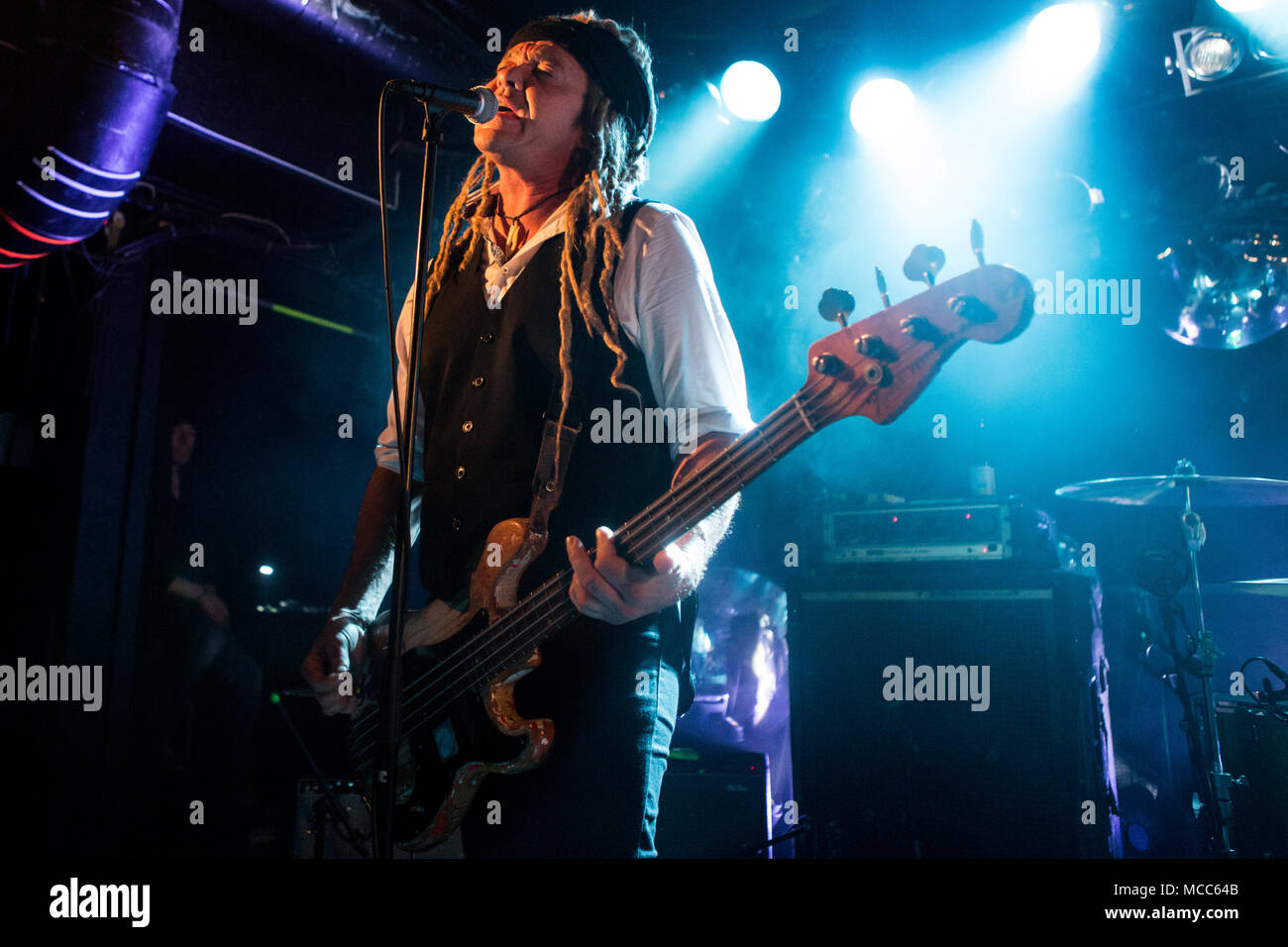 Norway, Oslo - April 14, 2018. The American alternative rockband Nada Surf performs a live concert at John Dee in Oslo. Here bass player Daniel Lorca is seen live on stage. (Photo credit: Gonzales Photo - Per-Otto Oppi). Stock Photo