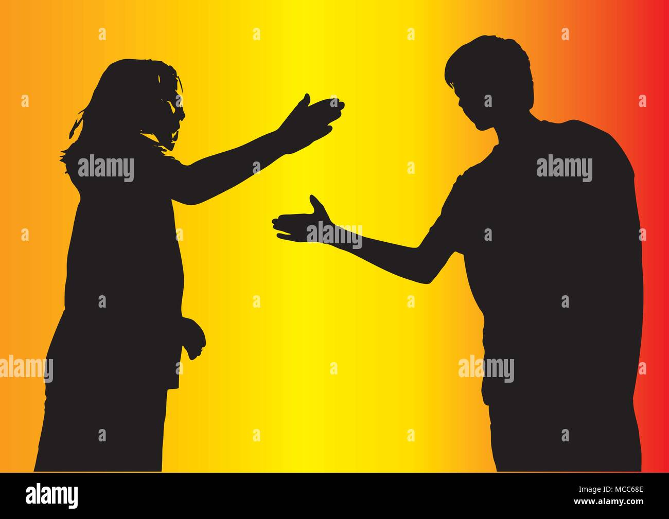 Boy and girl friends greeting each other giving a high five in boy and girl friends greeting each other giving a high five in silhouettector background illustration m4hsunfo