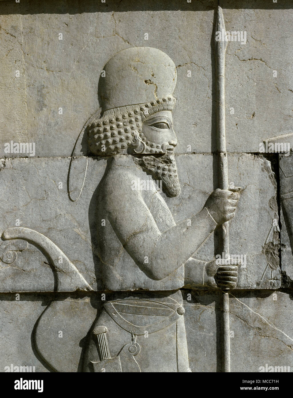 Achaemenid Empire Persepolis Relief Of A Mede Soldier Round Cap Detail The Tripylon Or Central Palace 5th Century Bc Iran Persia Stock Photo Alamy