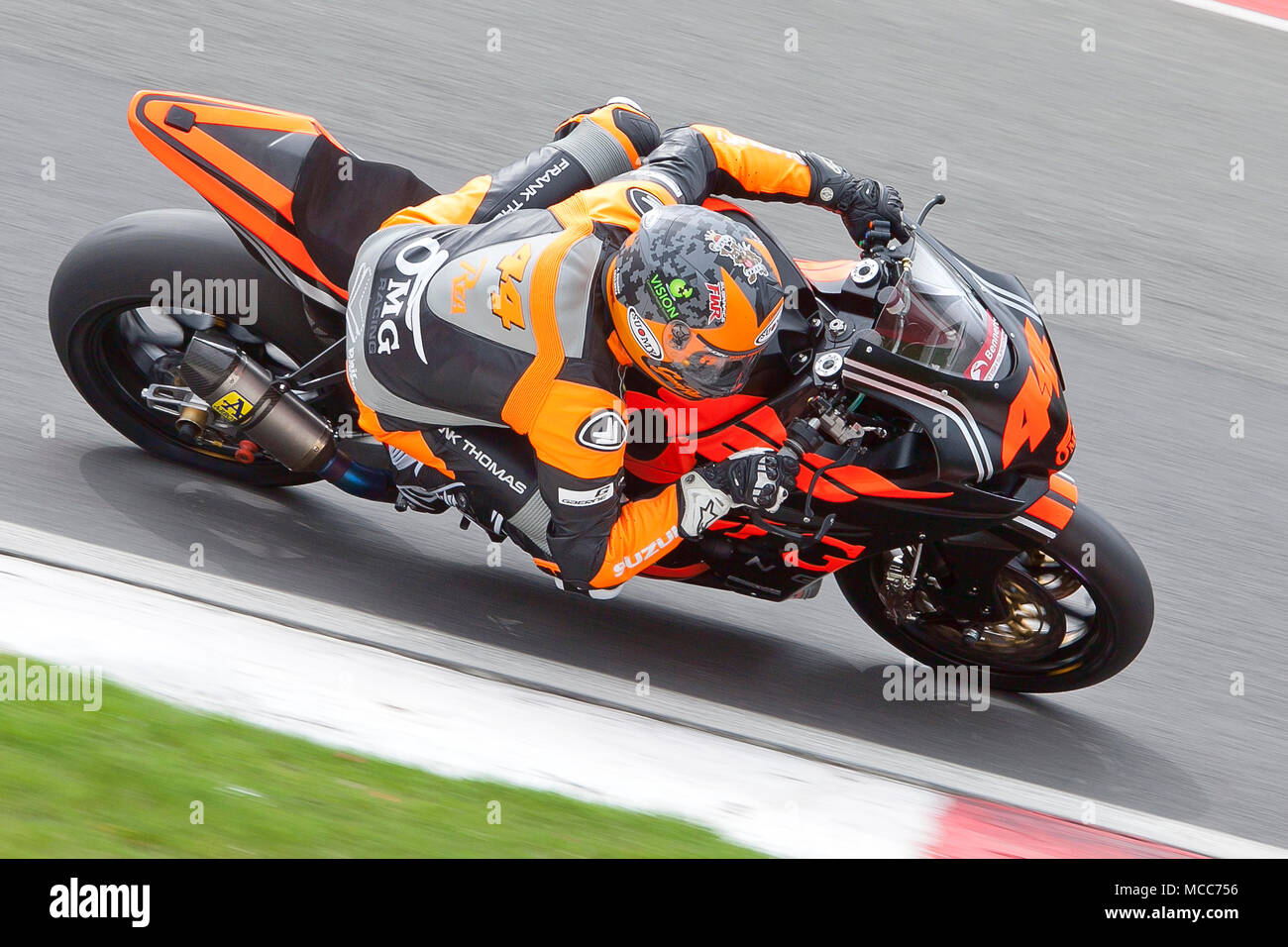 Gino Rea riding a Suzuki GSXR-1000 with OMG racing team at the British Super Bike championship at Brands Hatch Sunday 15th April 2018 - Stock Image