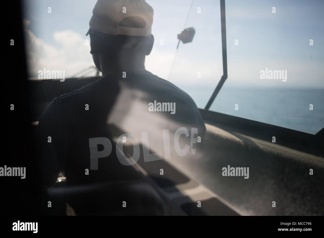 Police patrol boat in , Solomon Islands, on 6 December 2017. - Stock Image