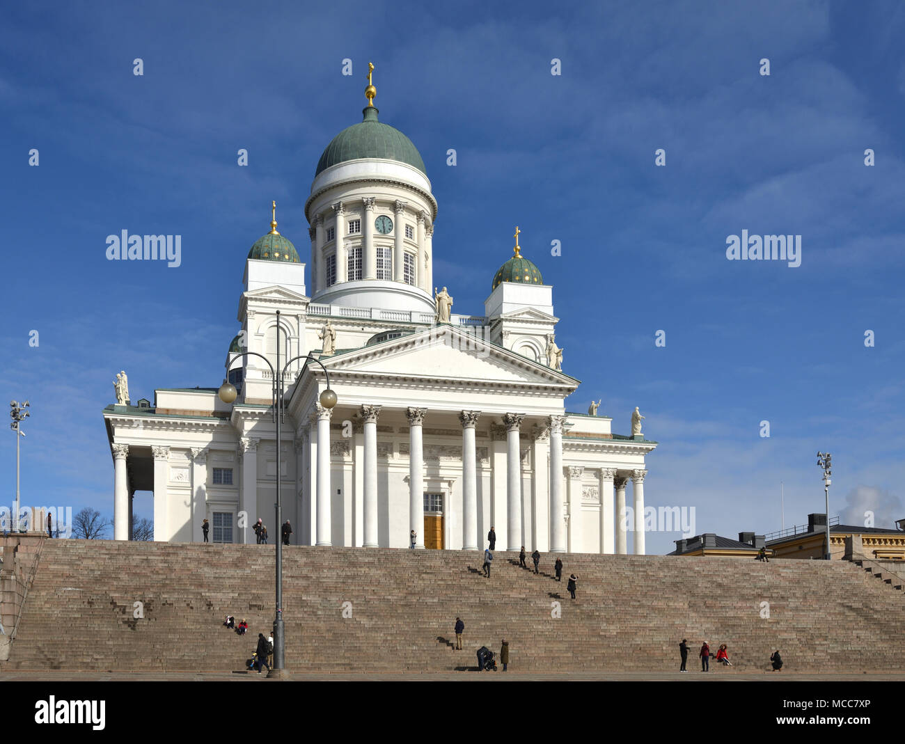 Finnish Evangelical Lutheran cathedral of Diocese of Helsinki, located in neighborhood of Kruununhaka - Stock Image