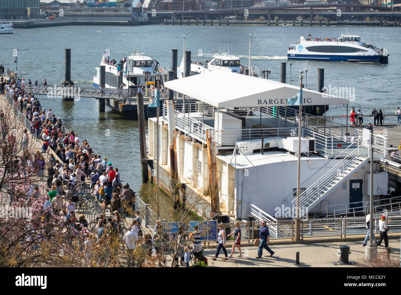 Long line of people cuing for a ride on the NYC Ferry on the